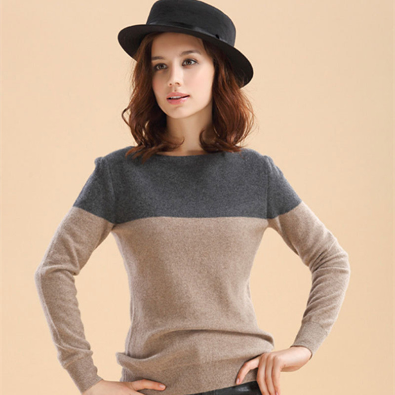 2016New fall Fashion Cashmere Sweater Pullover JP wild Spell color Women