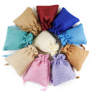 10PCS 7x9cm Christmas Linen Jute Drawstring Gift Bags Wedding Birthday Party Favors Candy Packaging Bags Baby Shower Supplies