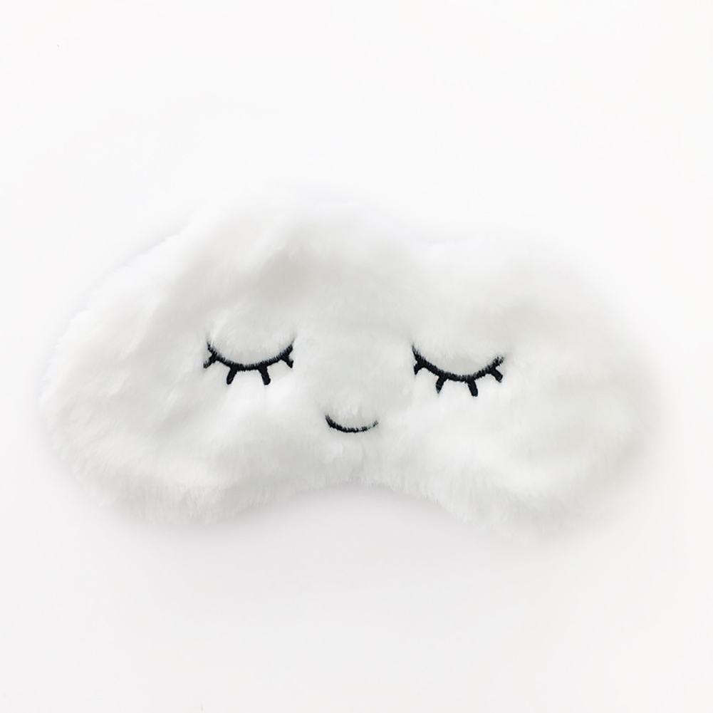 Eye Mask Sleeping Aid Break Soft Plush Cute Eyelashes Home Lightweight Eyepatch Cartoon Cloud Shade Travel Blindfold Office