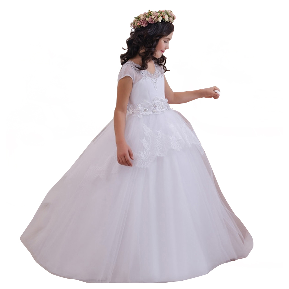 fancy flower girls dresses purple sash fantasia vestido little girls party dress white girls gowns for kids first communion dres fancy pink little girls dress long flower girl dress kids ball gown with sash first communion dresses for girls