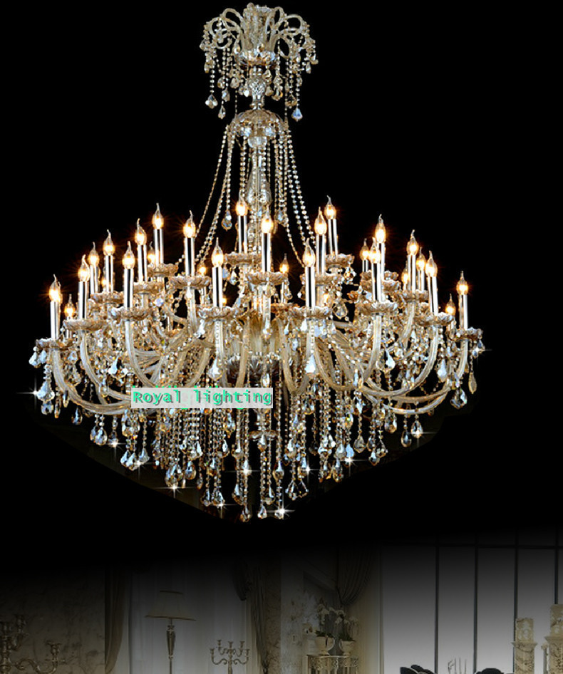 Big 45-arm high ceiling chandelier crystal droplight Hotel - Indoor Lighting - Photo 4