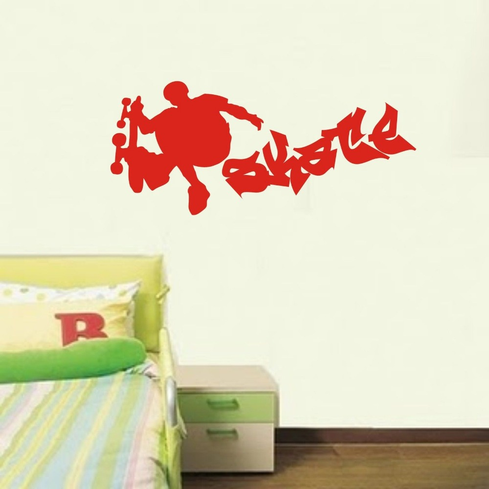 Personalised skateboard wall sticker decal style 1 boys bedroom personalised skateboard wall sticker decal style 1 boys bedroom wall stickers sporting wall decals 3 sizes 40 colors available in wall stickers from home amipublicfo Choice Image