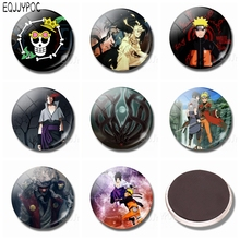 Naruto Anime Cartoon 1pcs 30MM Fridge Magnets Glass Magnetic Stickers for Refrigerator Home Decor Fans Souvenirs