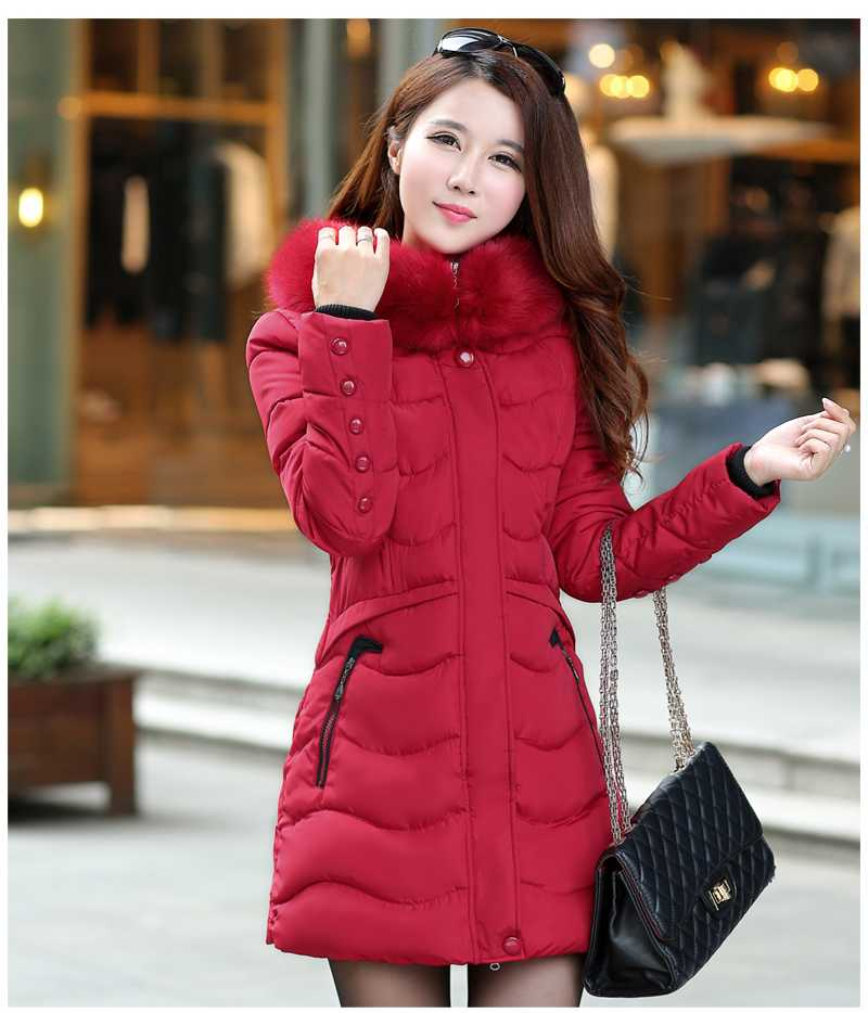 Women Jacket Winter Overcoat 2016 New Down Cotton Fur Hooded Slim Parka Women Coat Thickening Warm Clothes Plus Size A4355 thickening warm fur collar winter coat new 2016 women clothes lamb wool jacket hooded parka army green overcoat xl a3878