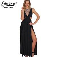 Maxi Dress Phụ Nữ Ăn Mặc Eliacher Hiệu Cộng Với Kích Thước Casual Quần Áo Phụ Nữ Chic Dài Đen Tối Đảng Summer Dresses vestidos
