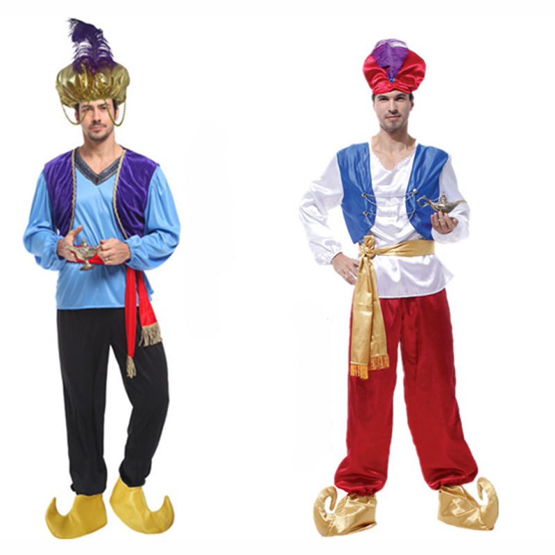 Adult men Halloween cosplay party Arab clothing carnival Lamp Aladdin costume India prince king role-playing costumes hat shoes