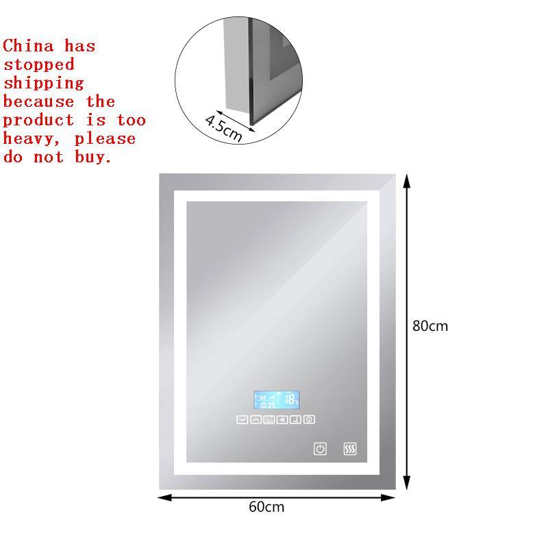 New Bluetooth Speaker LED Bathroom Mirror Wall Light Square Illuminated Toilet Fog Light Mirror Vanity Mirror with Family HWC : 91lifestyle