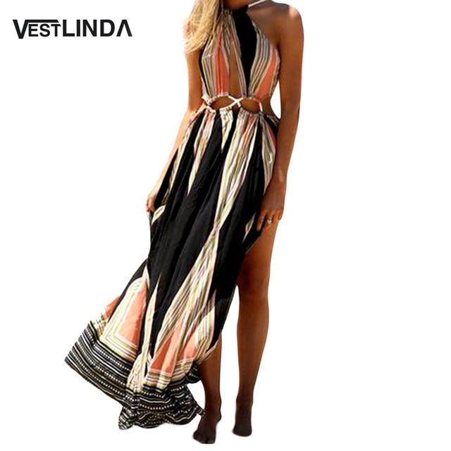 VESTLINDA Ethnic Printed Bohemian Women Summer Boho Split Long Dress Wrap Hollow Out Sleeveless Backless Women Maxi Beach Dress