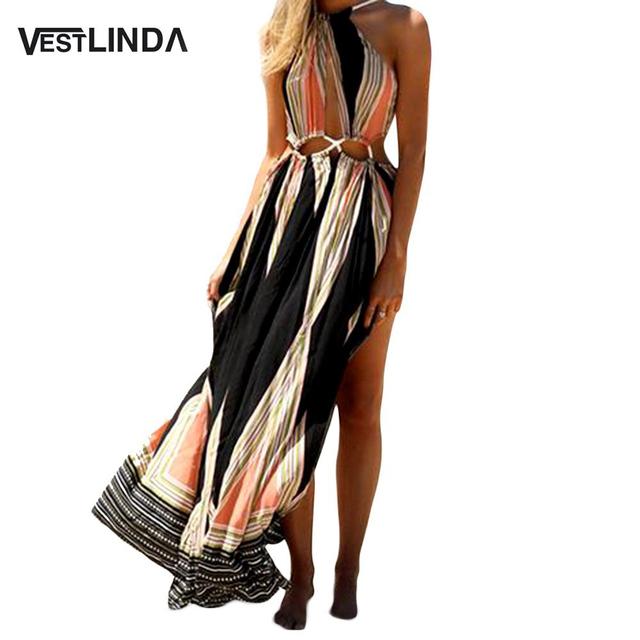 Vestlinda étnico impresso bohemian mulheres verão boho dividir longo dress envoltório oco para fora sem encosto sem mangas mulheres maxi beach dress