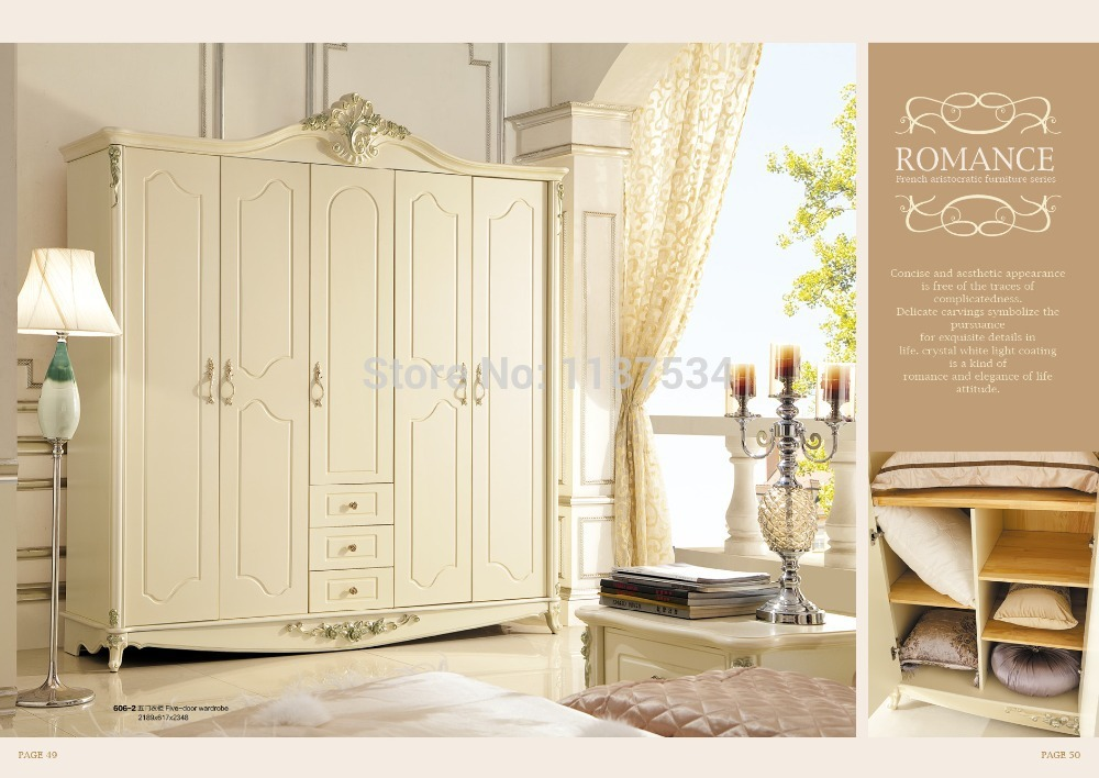 606-2 Bedroom furniture five-door wardrobe high class closet white color wardrobe ...