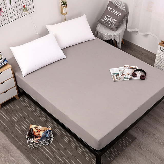 Waterproof Mattress Cover Solid Soft Fitted Sheet With Elastic Band High Quality Mattress Protector Cover Air-Permeable