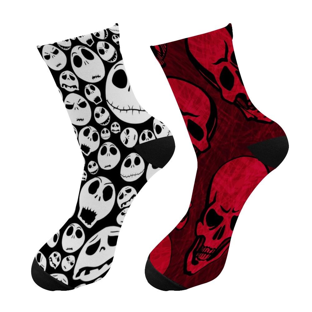 New 3d Printing Halloween Men Crew Socks Funny Skeleton Happy Long Socks Skull Chaussettes Homme Fantaisie Crazy Socks
