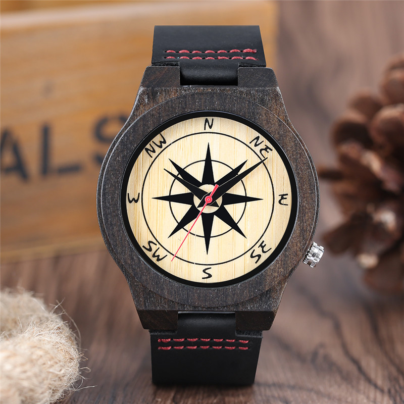 High Quality Fashion Compass Design Men Quartz Wristwatch Full Black Wooden Case Genuine Leather Band Male Gift  reloj masculino simple fashion hand made wooden design wristwatch 2 colors rectangle dial genuine leather band casual men women watch best gift