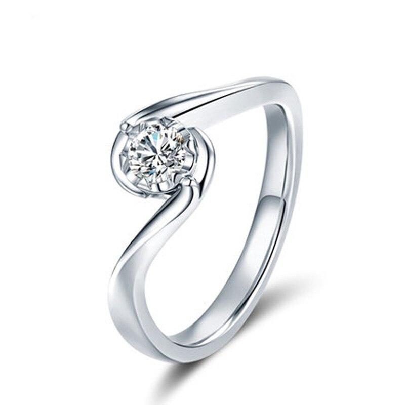ANI 18 K or blanc (AU750) femmes bague de mariage 0.2 CT certifié I/SI taille ronde Solitaire diamant Design amoureux bagues de fiançailles