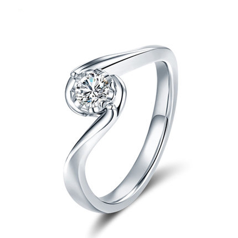 ANI 18K White Gold (AU750) Women Wedding Ring 0.2 CT Certified I/SI Round Cut Solitaire Diamond Design Lovers Engagement Rings ani 18k white gold au750 wedding ring 0 50 ct certified i si natural solitaire round cut diamond jewelry twisted bridal rings