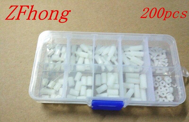 US $3 39 15% OFF 200PCS M2 M2 5 M3*6/8/10/12 White Nylon Hex Spacers Screw  Nut Stand off Plastic Parts Plastic Standoff Set White Kit Sample Box-in