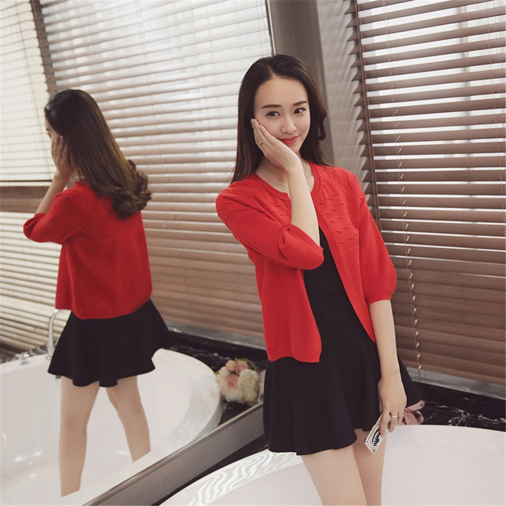 2016 Spring&Autumn Casual Sweater Women Cardigan Sweater Solid Color Open Stitch Women\'s Cotton Knitted Outerwear Sweater (17)