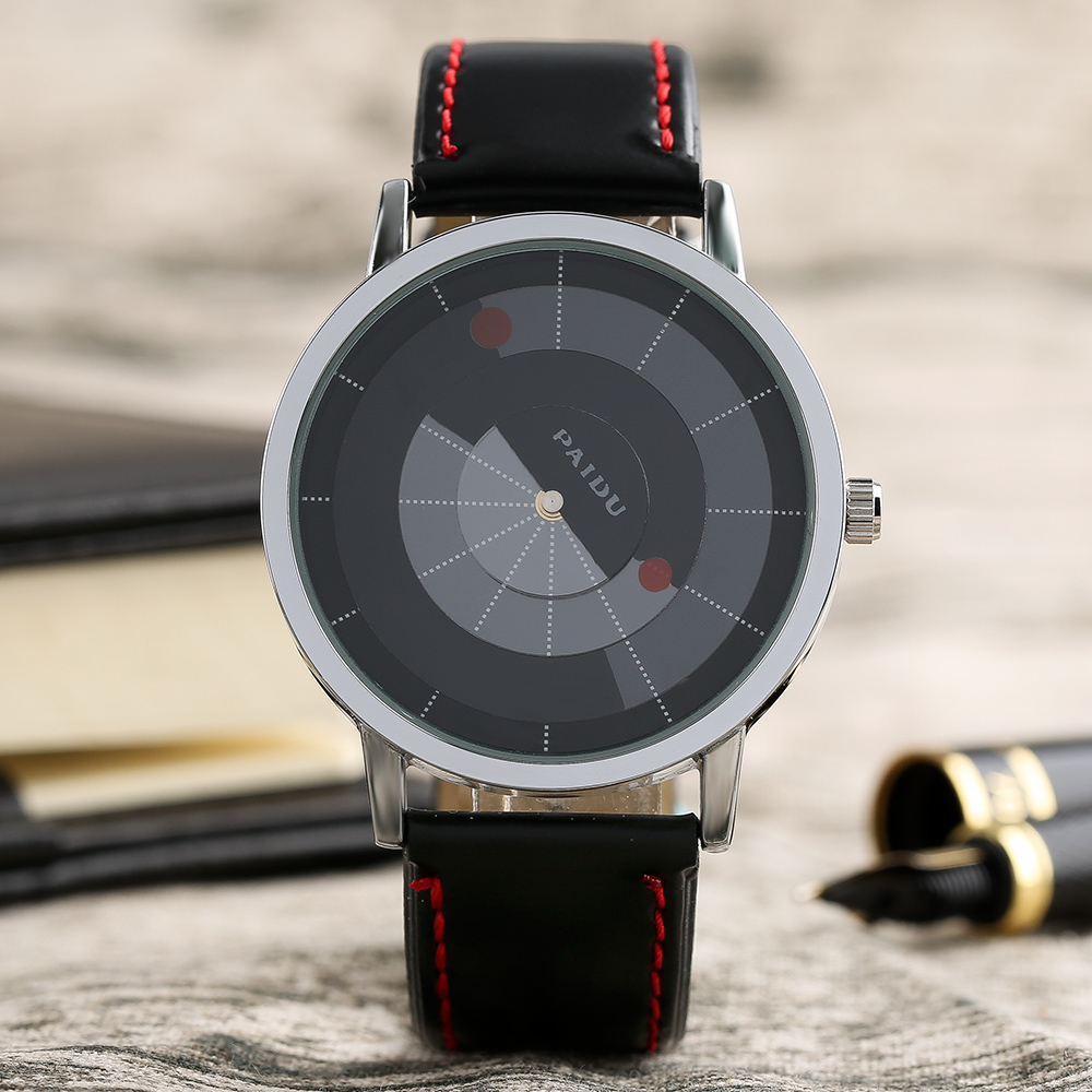 2017 New Arrival Fashion Cool Men Quartz Wristwatch Unique Dial Leather Band with Red Lines High Quality Male Watches Best Gift new arrival bamboo men wristwatch classic arabic number dial genuine leather band strap trendy gift quartz watch