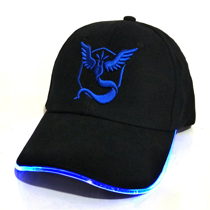 LED Pokemon GO Baseball Caps 100% Cotton Pocket Monster luminous hat for Women Mens Cartoon embroidered hip hop cap Go to Party cntang brand summer lace hat cotton baseball cap for women breathable mesh girls snapback hip hop fashion female caps adjustable