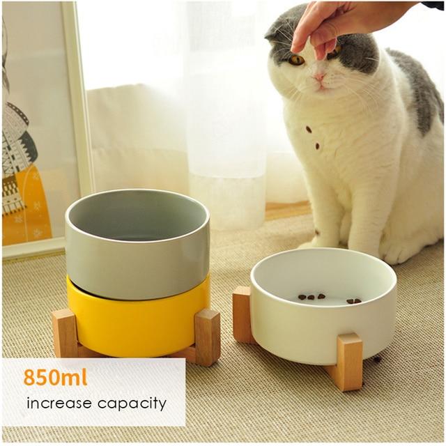 Ceramic Cat Bowl Wooden Frame  3