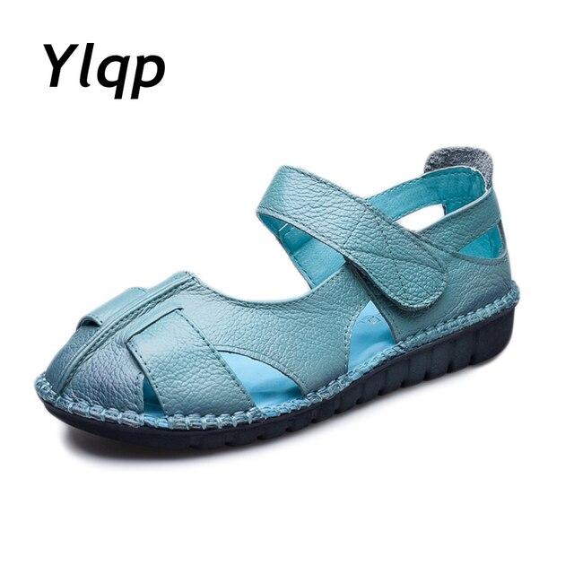 2018 женские кожаные сандалии, удобная обувь на мягкой подошве, женские  сандалии на плоской подошве fdcaee270e2