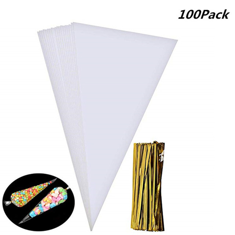 100pcs/lot DIY Candy Bag Wedding Favors Birthday Party Decoration Sweet Cellophane Transparent Cone Bags Cookies Flower Storage