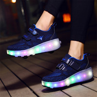 2019 USB Kids LED Shoes Roller Skate Shoes Boys Girls Automatic Jazzy Flashing Heelies spord Kids Sneakers Two Wheels Glowing