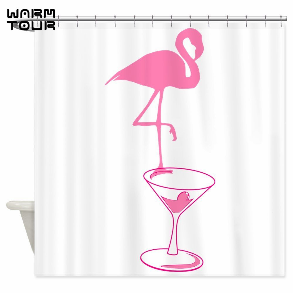 Warm Tour Pink Flamingo Party Time Martini Decorative Fabric Shower Curtains Polyester Waterproof Bathroom Curtain WTC100