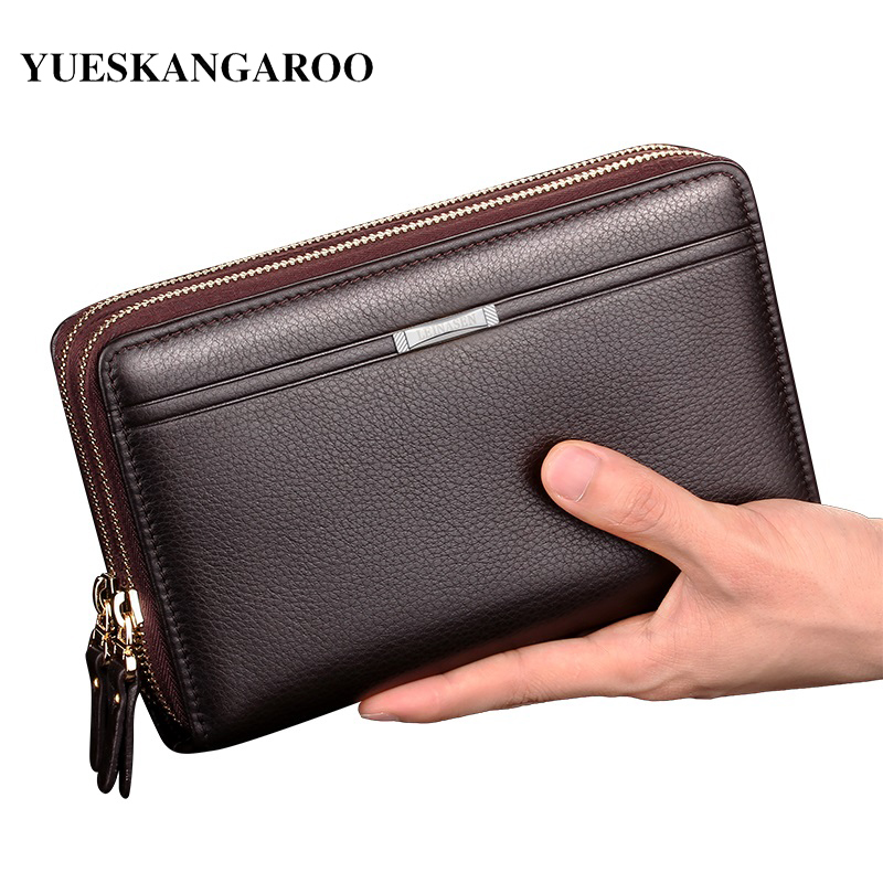 Luxury Brand Men Clutch Bag Fashion Long Wallet Men Leather Double Zipper Business Purse Black Brown Casual Male Handy Money Bag