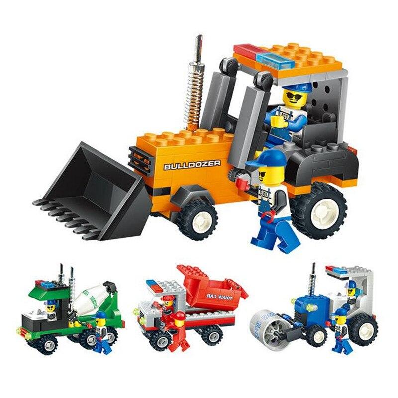 Mixer Bulldozer Roller Truck Engineering Vehicle Assembling Building Blocks Toys