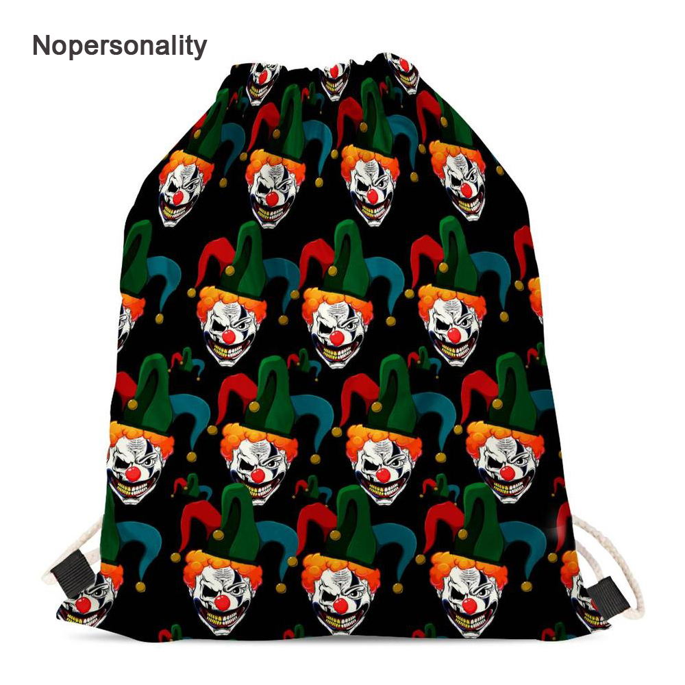 Nopersonality Funny Clown Pattern Drawstring Backpack for Kids Cute Women Storage Travel Bags Small Student Bookbag