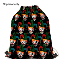 Nopersonality Funny Clown Pattern Drawstring Backpack for Kids Cute Women Storage Travel Bags Small Student Bookbag Mochila