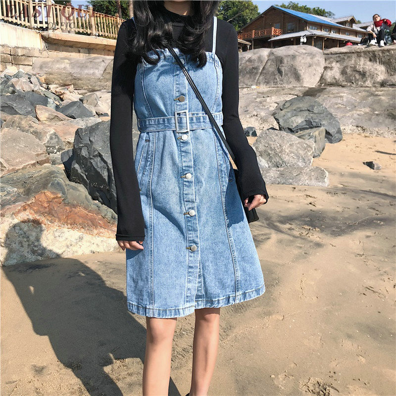 Robe avant femme denim robe d'été jean robes femmes 2018 nouveautés streetwear sans manches femme hiver robe 2018 KK2142