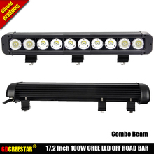 100 W 4×4 luzes de trabalho led 17 polegada 10 leds 12 V 24 V 100 W Bar lâmpadas spot levou 4×4 barra de luzes led promoção luzes feixe Estreito x1pc