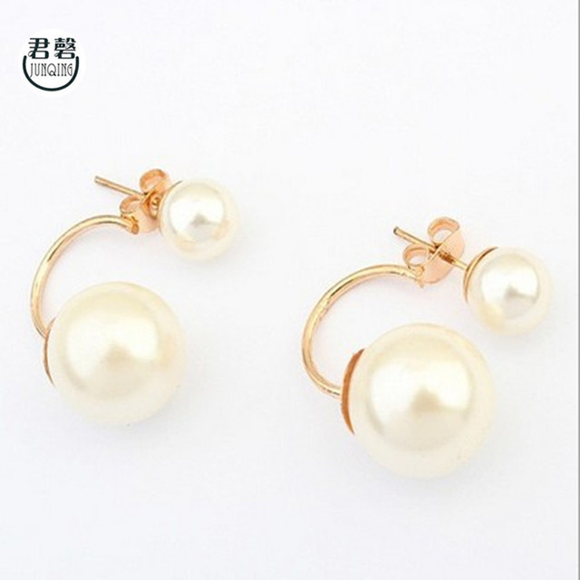 New Arrival Earrings Women Cute Double Pearl Ball Stud Simple Two Sided