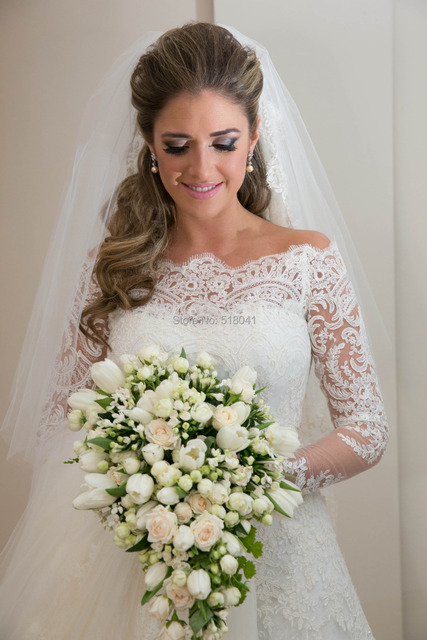 Vestidos De Noiva 2014 New White Lace Mermaid Wedding Dresses with ...