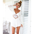 Elegant Jumpsuit Bodysuit Solid White Overalls Rompers 2016 New Women Long Sleeve Lace V Neck Jumpsuits summer Casual jumpsuits