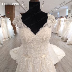 Image 3 - Cap Sleeve V Neckline Wedding Dress with Luxury Pearl Beaded Delicate Lace Bridal Gown High Quality Factory Custom Made