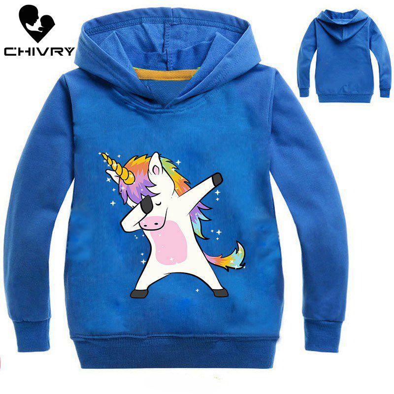 New 2019 Children Kids Spring Autumn Sweatshirt Boys Girls Cute Unicorn Print Long Sleeve Hooded Hoodies Sweatshirt Tops