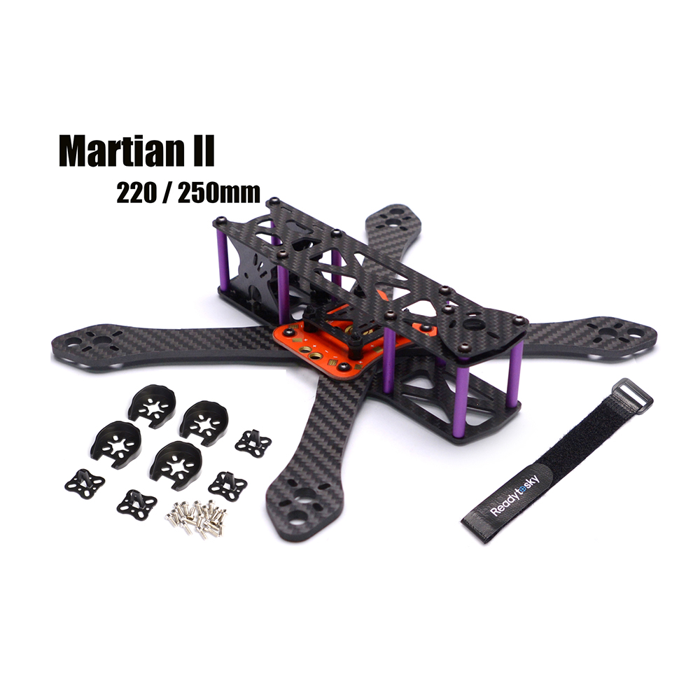 REPTILE Martian II 2 220 / 250 220mm 250mm 4mm Arm Thickness Carbon Fiber Frame Kit W/ PDB For FPV Racing