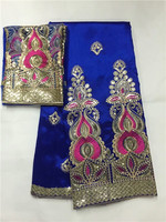 В африканском стиле высокое качество Джордж с блузка синий тюль кружева африканский Джордж обертка Высокое качество Африканский Джордж Тк
