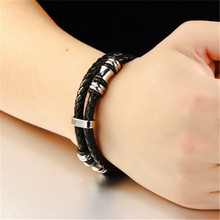 1 PC Titanium steel hand-woven leather mens bracelets to send boyfriend gifts