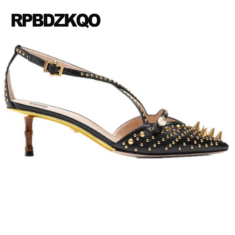6b65e025619 High Heels Famous Cross Strap White Spike Pearl Medium Stud Catwalk Sandals  Pumps Luxury Shoes Women Designers Rivet Pointed Toe