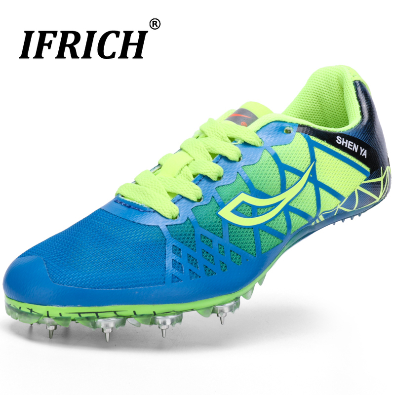Boys Girls Track Field Shoes Kids Spikes Running Sneakers Blue Color Lightweight Racing Sneakers Children Training Shoes