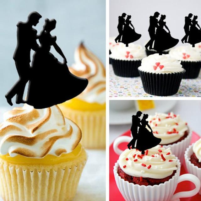 Free Shipping 8pcs/Set Bride & Groom Wedding Acrylic Cupcake Topper ...