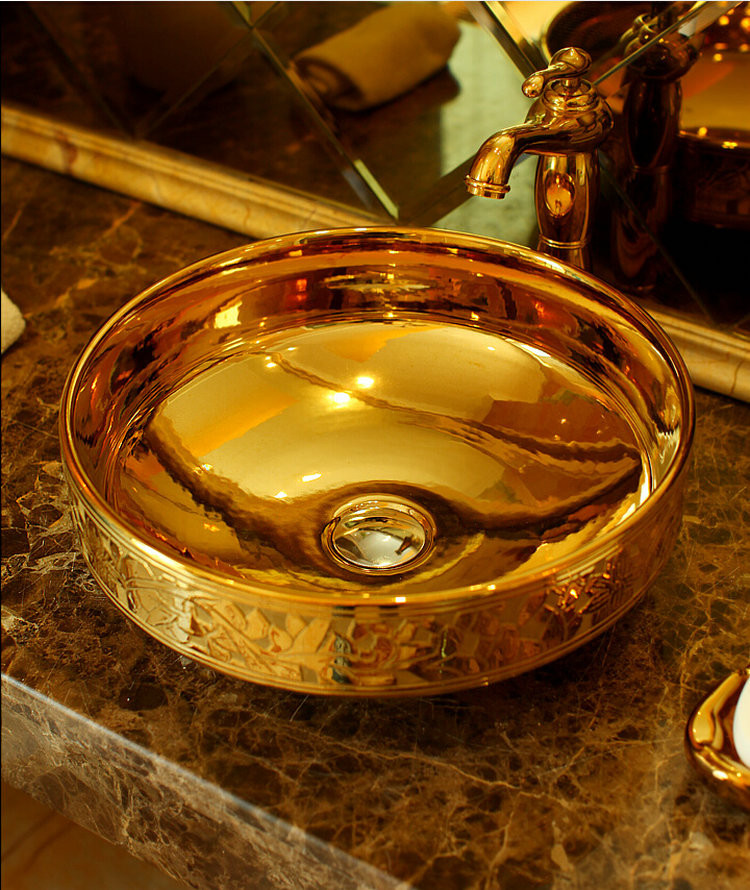 Gold Jingdezhen Bathroom Ceramic Sink Wash Basin Counter Top Wash Basin Bathroom  Sinks White Porcelain Vessel Part 57