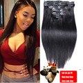 7A Misturas de Luxo Clipe Brasileiro Em Extensões Do Cabelo Humano Natural Grampo de cabelo Em cabelo Humano Reto de seda Humano Grampo de Cabelo Em extensões
