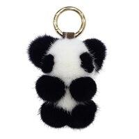 Genuine Mink fur Keychain fashion panda Keychain Key ring bag Pendant gift car pendant car accessories handbag keychain Keyring