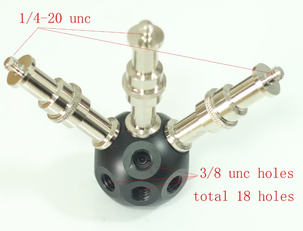Multifunctional Magic Ball 3/8 Holes with 3pcs 3/8 male to 1/4 male adaptors