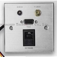 Multifunction Information Panel with Audio/Video/VGA/RI45,wall socket / panel socket free shipping